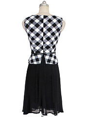 Office Round Neck Belt Plaid Patchwork Skater Dress