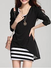 Cheap-Striped-Mini-High-Stretch-Two-Piece-Bodycon-Dress
