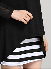 Cheap Striped Mini High Stretch Two-Piece Bodycon Dress