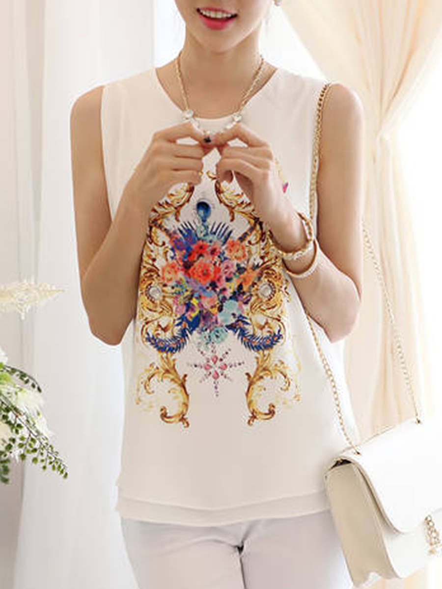 Printed Chiffon Sleeveless T-Shirt