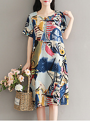 Spring-Summer-CottonLinen-Sweet-Heart-Printed-Shift-Dress