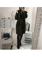 Hooded Pocket Belt Plain Long Sleeve Casual Coats