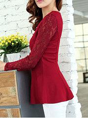 Autumn Spring  Polyester  Women  Decorative Lace  Plain  Long Sleeve Blouses