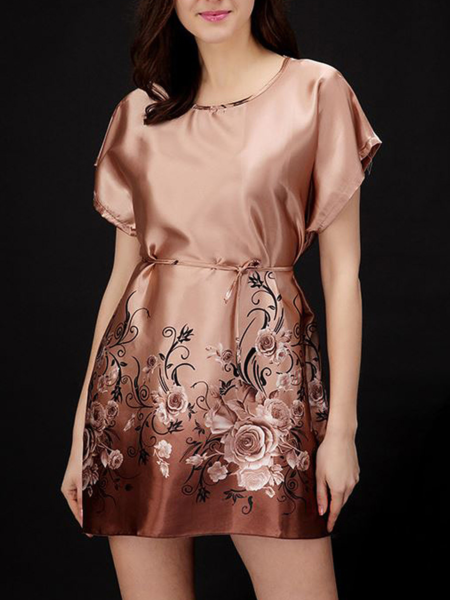Round Neck  Floral  Satin Nightgown
