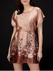 Round-Neck-Floral-Satin-Nightgown