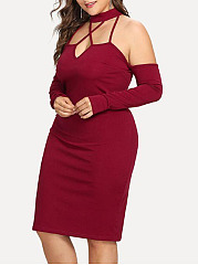 Asymmetric Neck  Plain Plus Size Bodycon Dress