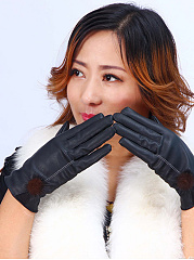 Fleece Leather Fur Ball Leather Gloves
