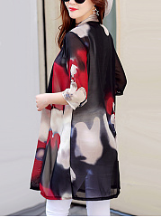 Awesome Collarless See-Through Printed Kimono