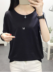 Autumn Spring  Polyester  Women  Round Neck   M Letters Plain Short Sleeve T-Shirts