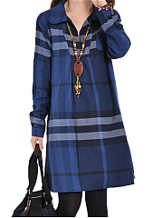 Casual-Plaid-Roll-Up-Sleeve-Shift-Dress