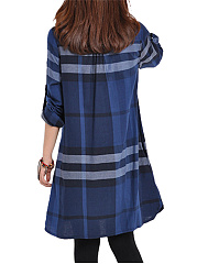 Casual Plaid Roll-Up Sleeve Shift Dress