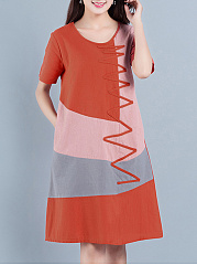 Color Block Round Neck Short Sleeve Pocket Shift Dress