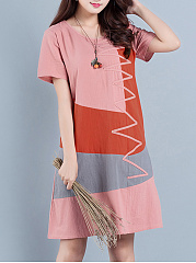Color-Block-Round-Neck-Short-Sleeve-Pocket-Shift-Dress