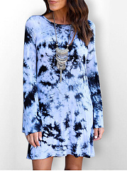Round Neck  Ikat Shift Dress