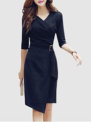 V-Neck-Asymmetric-Hem-Plain-Bodycon-Dress