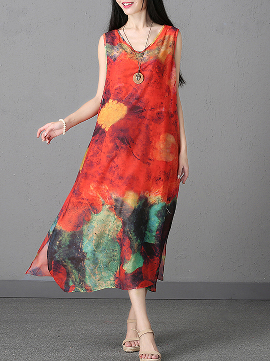 Printed  Chiffon V-Neck  Side Slit  Maxi Dress