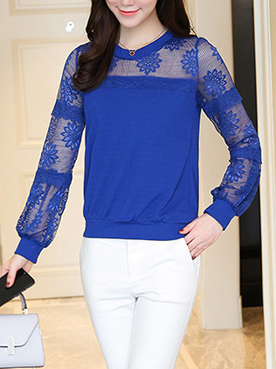 See-Through Plain Round Neck Long Sleeve T-Shirt