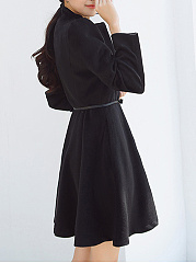 Band Collar Longline Belt Plain Pocket Woolen Coat