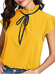 Spring Summer  Polyester  Band Collar  Bowknot  Plain  Short Sleeve Blouse