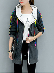Colorful Contrast Piping Fleece Lined Coat