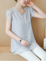 Spring Summer  Chiffon  Women  Asymmetric Neck  Asymmetric Hem  Plain  Petal Sleeve  Short Sleeve Blouses