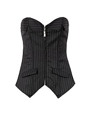 Women Sexy Zipper Front Corset Overbust Synthetic Leather Body Shaper Bustiers