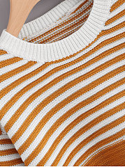 Round Neck  Patchwork  Striped  Long Sleeve Sweaters Pullover