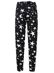 Star-Printed-Slim-Leg-Casual-Pants