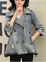 Lapel Double Breasted Distressed Denim Coat