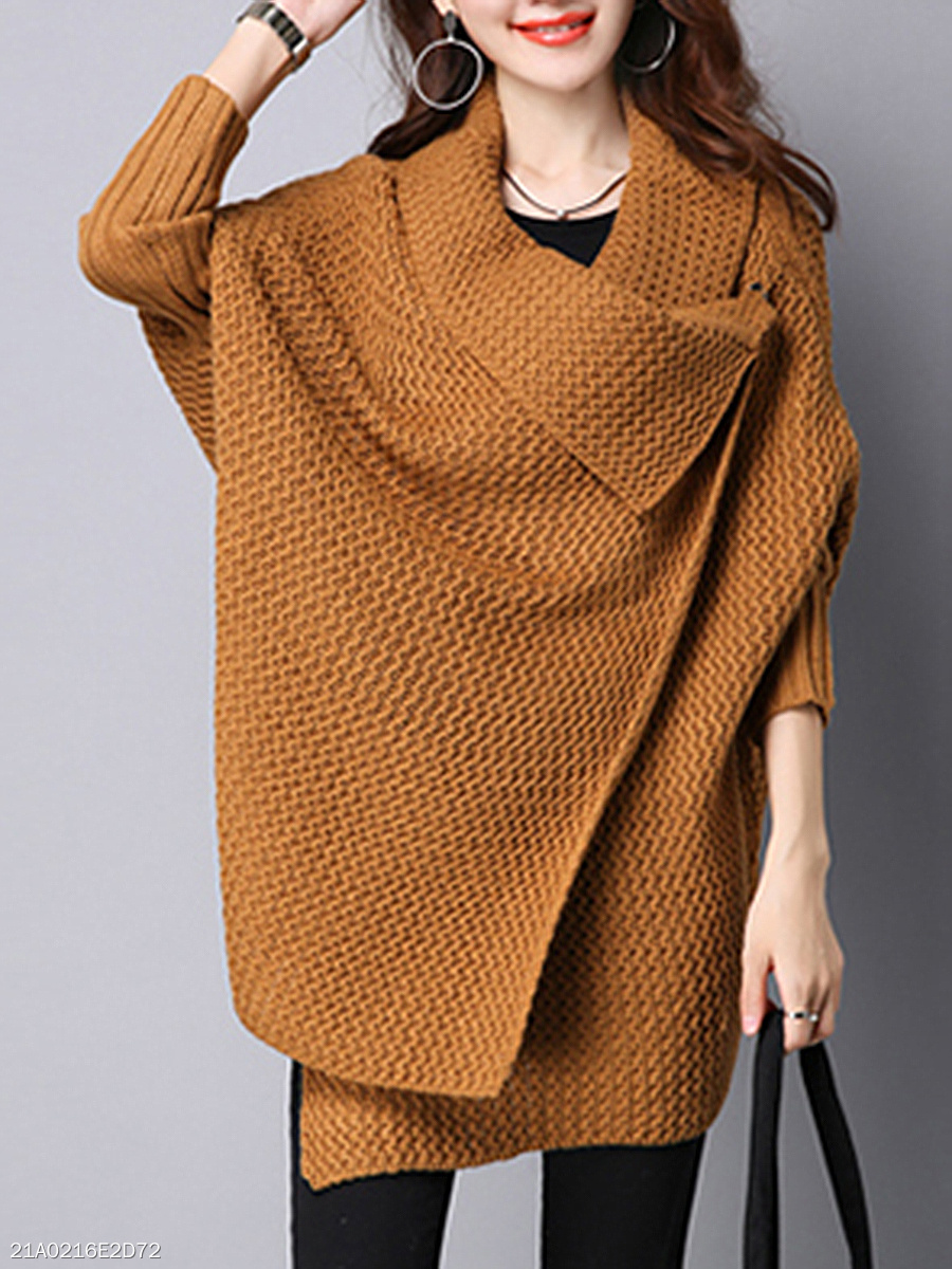Lapel Plain Knitted Cape