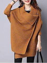 Lapel-Plain-Knitted-Cape