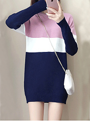 Round-Neck-Color-Block-Shift-Dress