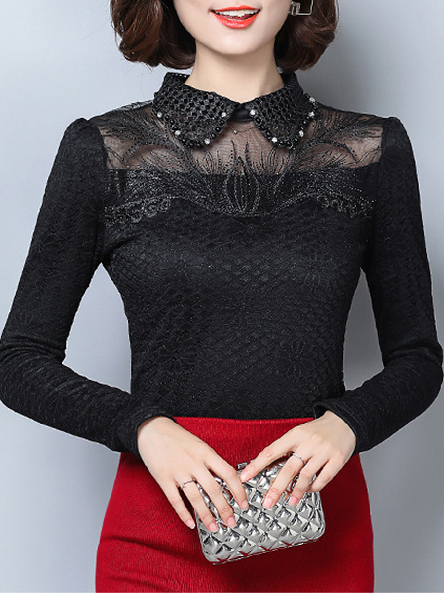 Doll Collar  Decorative Lace  Floral Long Sleeve T-Shirts