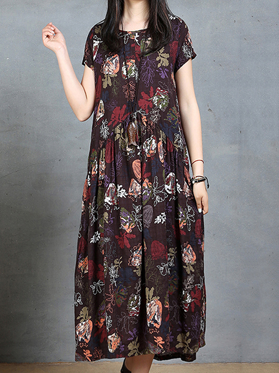 Round Neck Printed Pocket Midi Shift Dress
