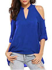 Polyester  Open Shoulder  Plain Blouse