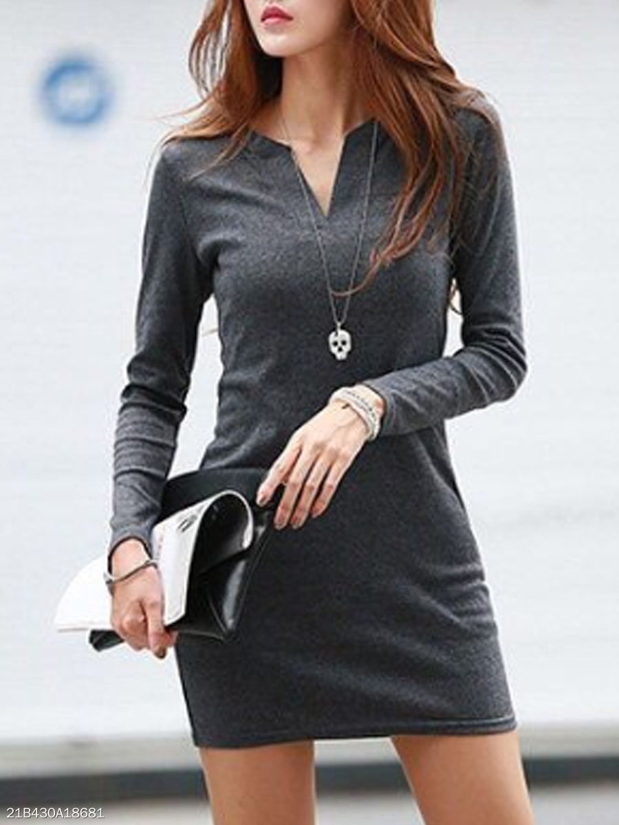 V Neck  Plain Bodycon Dress