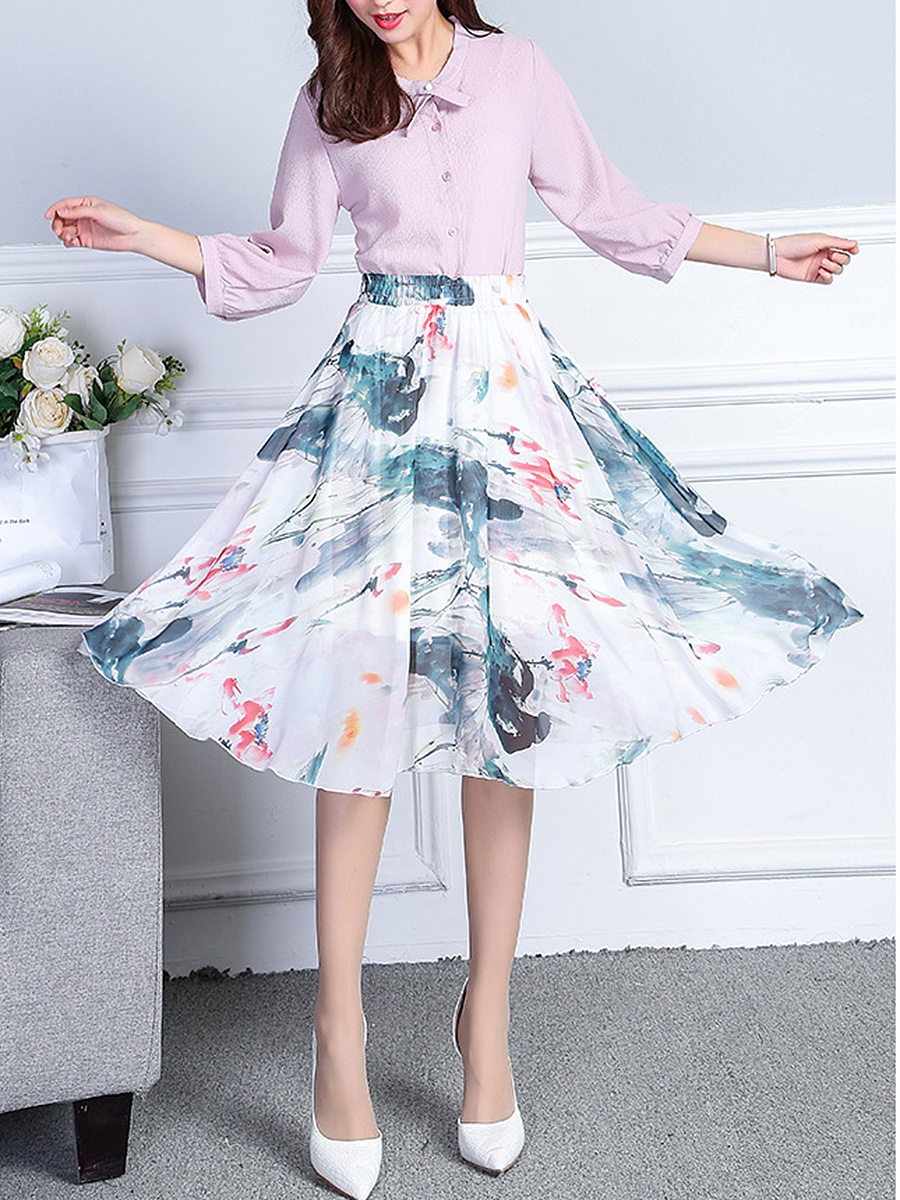 Elastic Waist Hollow Out Printed Flared Midi Skirt