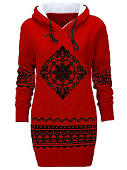Tribal Printed Fleece Lined Hoodie