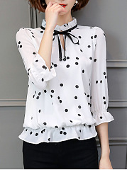 Tie Collar Keyhole Hollow Out Polka Dot Blouse