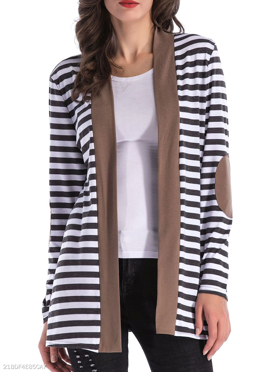 V Neck  Patchwork  Stripes Knit Cardigans