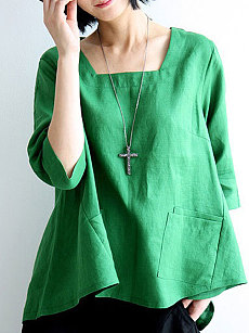 Spring Summer  Linen  Women  Square Neck  Asymmetric Hem Patch Pocket  Plain  Three-Quarter Sleeve Blouses