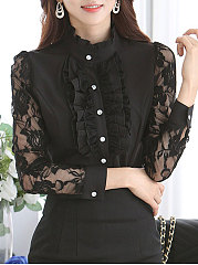 Band-Collar-Decorative-Lace-Patchwork-Single-Breasted-Floral-Blouses