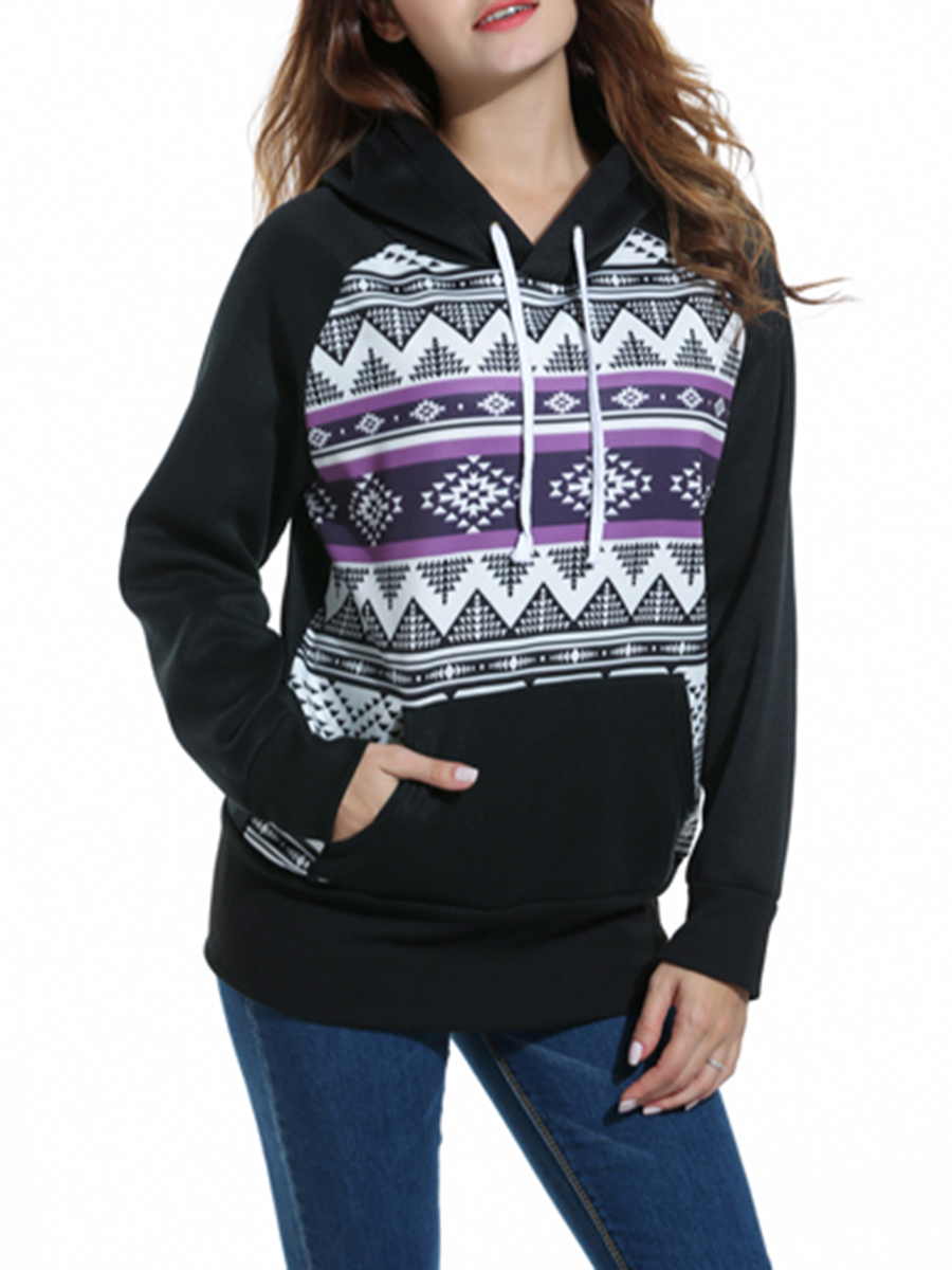 Hooded Loose Fitting Patchwork Abstract Print Hoodie