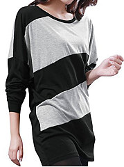 Round Neck  Patchwork  Striped  Batwing Sleeve Long Sleeve T-Shirts