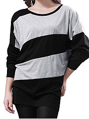 Round-Neck-Patchwork-Striped-Batwing-Sleeve-Long-Sleeve-T-Shirts