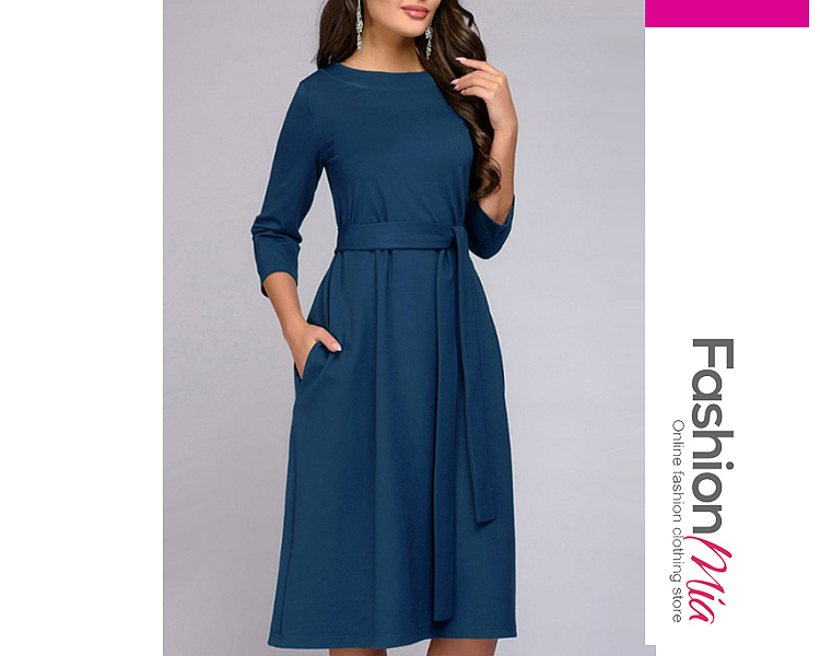 Removable Tie Two Way  Plain Skater Dress