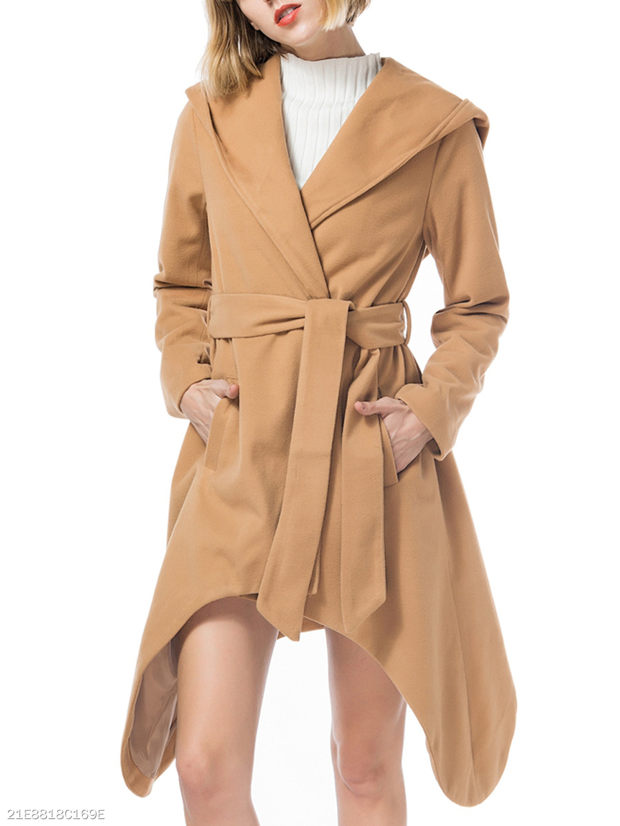 Hooded  Slit Pocket  Belt Belt Loops  Plain  Long Sleeve Coats