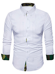 Solid Button Down Collar Men Shirts