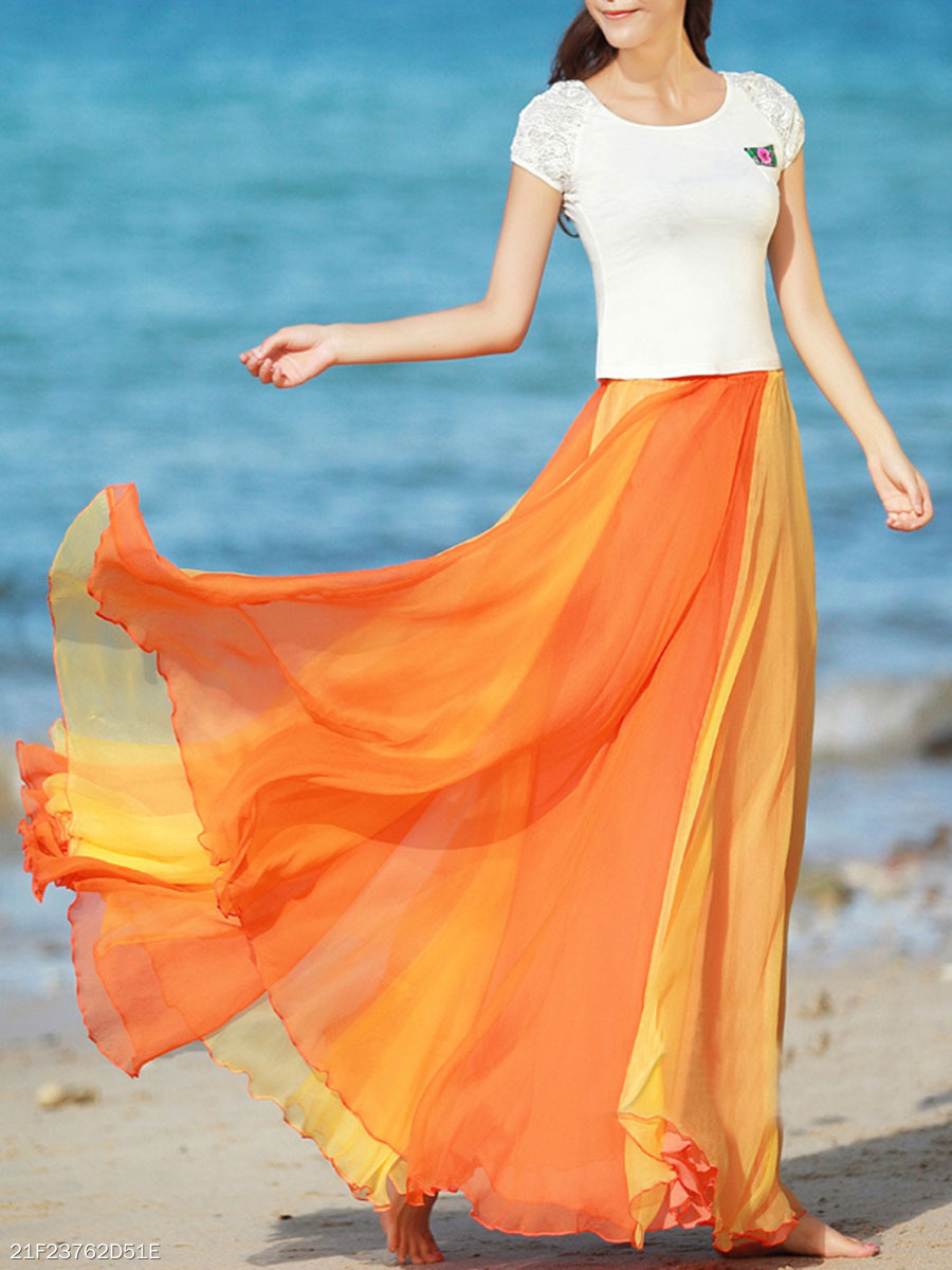 Two Way Color Block Flared Maxi Skirt