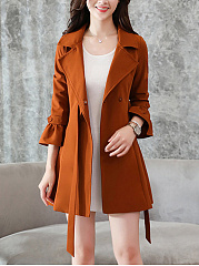 Lapel-Bowknot-Pocket-Plain-Bell-Sleeve-Coat